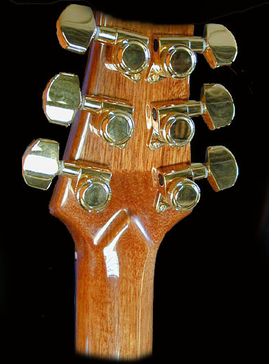 The back of the headstock with the Schaller locking tuners.