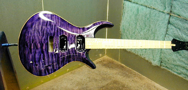 This Purple Guitar Is In The Paint Booth Tonight